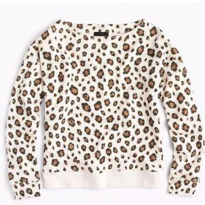 J. Crew Cheetah Print Boat Neck Sweatshirt, sz L
